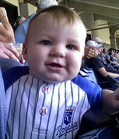 Our middle grandson, in 2008, at his first Royals game.