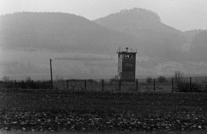 A view near Fulda of the inner-German-border fence constructed by the East German government.