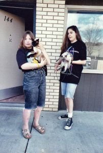 Our daughters at a motel in South Dakota.  Merrie is behaving herself, as she usually did, but Dinah is being a rascal and trying to get down.